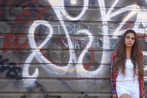 Street fashion, Graffiti, Long hair, Brown hair, Flash photography, Model, Handwriting, Street art, Photo shoot, Portrait photography,