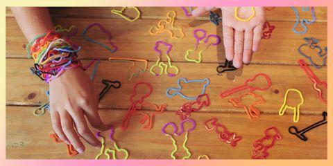 Finger, Pink, Nail, Wrist, Magenta, Creative arts, Craft, Bracelet, Nail care, Nail polish,