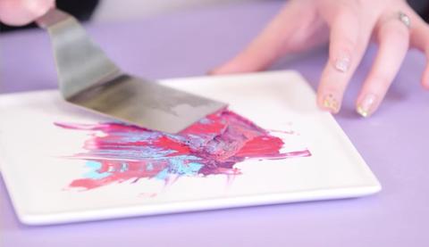 Finger, Pink, Purple, Nail, Magenta, Paint, Art paint, Violet, Material property, Thumb,