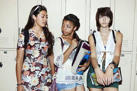 Style, Black hair, Sleeveless shirt, Fashion, Thigh, Youth, Street fashion, Bag, Bangs, Necklace,