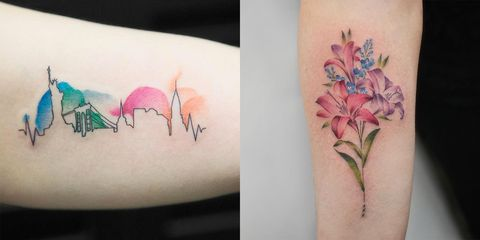 Tattoo, Shoulder, Arm, Flower, Joint, Plant, Botany, Leg, Human leg, Temporary tattoo,
