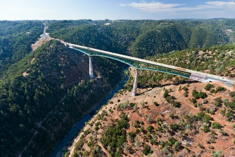 Aerial photography, Bridge, Road, Mountain pass, Infrastructure, Skyway, Sky, Photography, Highway, Nonbuilding structure,