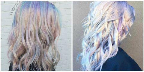 Hair, Blond, Hair coloring, Hairstyle, Chin, Beauty, Long hair, Purple, Brown hair, Layered hair,