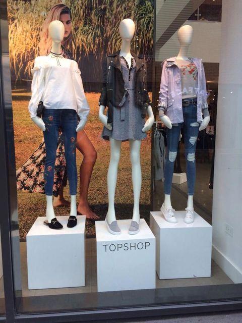 Mannequin, Display window, Jeans, Fashion, Doll, Standing, Denim, Display case, Retail, Shorts,