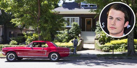 Land vehicle, Vehicle, Car, Pink, Home, Automotive exterior, Hardtop, Sedan, House, Plant,