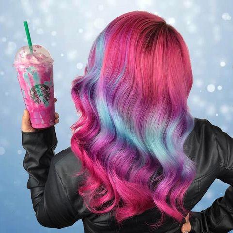 Hair, Pink, Hair coloring, Purple, Hairstyle, Magenta, Long hair, Wig, Human, Blond,