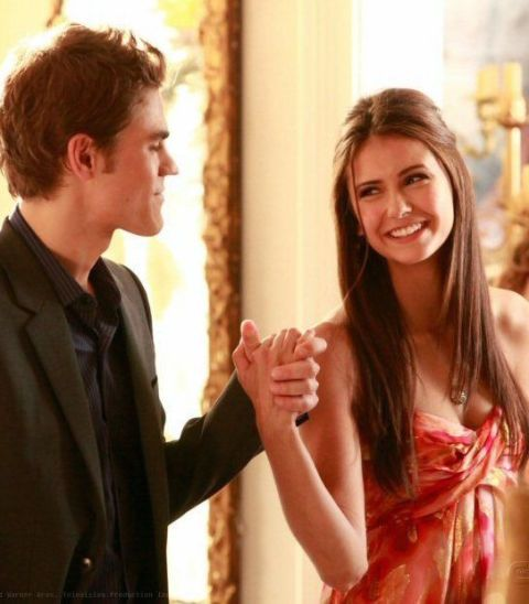 Stefan and Elena looking happy form Vampire Diaries