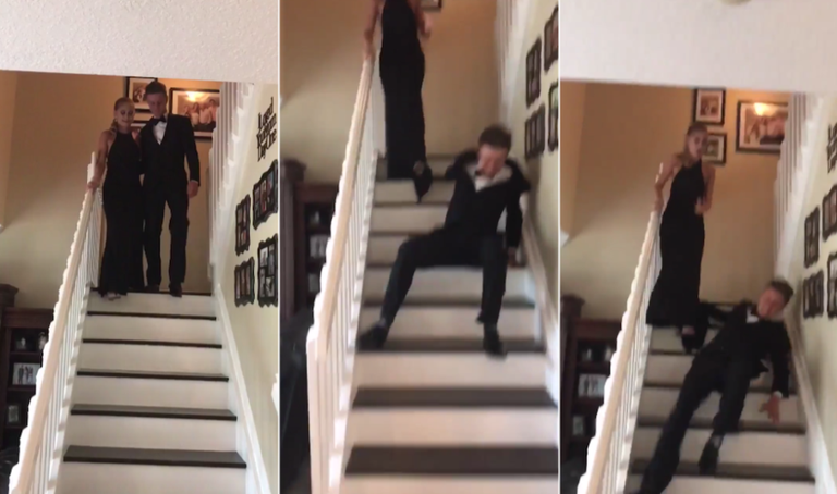 This teen fell down the stairs during his prom entrance and its twitter sciox Images