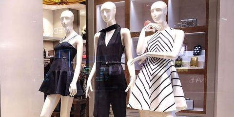 Mannequin, Display window, Display case, Clothing, Doll, Fashion, Boutique, Dress, Fashion design, Toy,