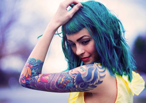 Hairstyle, Tattoo, Shoulder, Elbow, Wrist, Eyelash, Beauty, Cool, Muscle, Temporary tattoo,