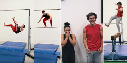 Gymnastics, Artistic gymnastics, Physical fitness, Jumping, Room, Sports, Exercise, Sports training, Individual sports, Mat,