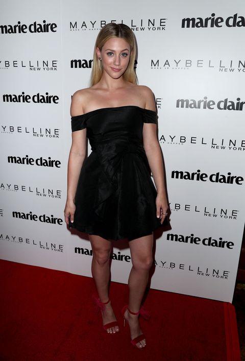 Clothing, Dress, Cocktail dress, Shoulder, Little black dress, Premiere, Strapless dress, Joint, Carpet,