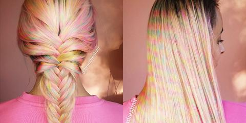 Hair, Pink, Hairstyle, Hair coloring, Blond, Long hair, French braid, Magenta, Artificial hair integrations, Braid,