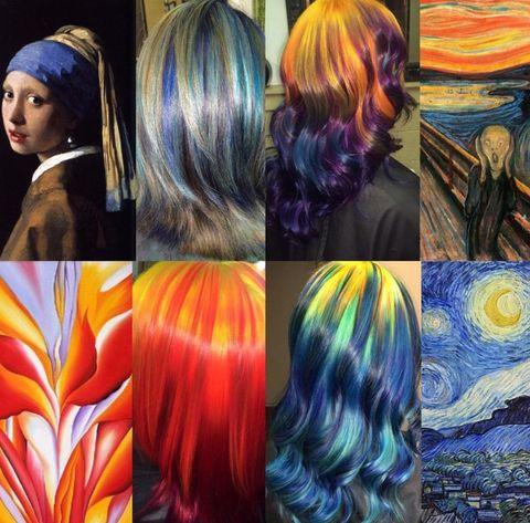 Hair, Hair coloring, Hairstyle, Dye, Long hair, Artificial hair integrations, Brown hair, Hair accessory, Collage, Fashion accessory,