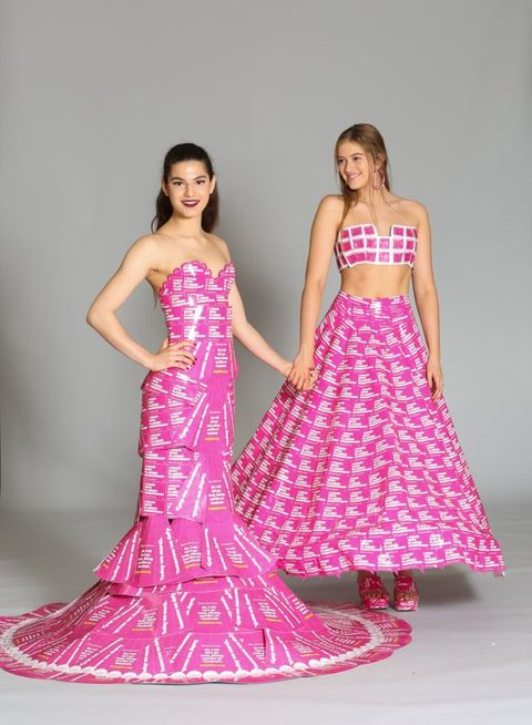 Clothing, Shoulder, Textile, Magenta, Pink, Style, Formal wear, Dress, One-piece garment, Gown,