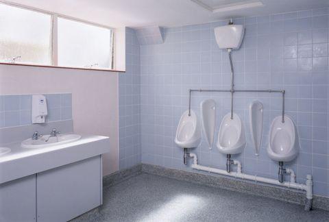 Bathroom, Property, Room, Urinal, Plumbing fixture, Tile, Toilet, Purple, Wall, Floor,