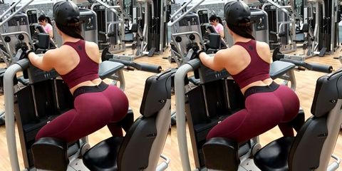 Physical fitness, Gym, Thigh, Strength training, Leg, Weight training, Arm, Muscle, Room, Sportswear,