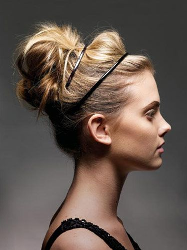 Hair updo ideas cute updo hairstyles model with loose bun and double headbands pmusecretfo Choice Image