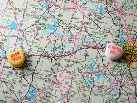 candy hearts on map