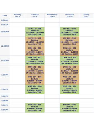 make your class schedule take college classes twice a week