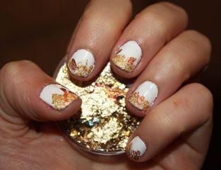 gold flake nail tutorial  new year's eve nail art