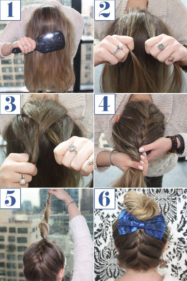 Reverse french braid bun how to braided bun bow hairstyle tutorial ccuart Images