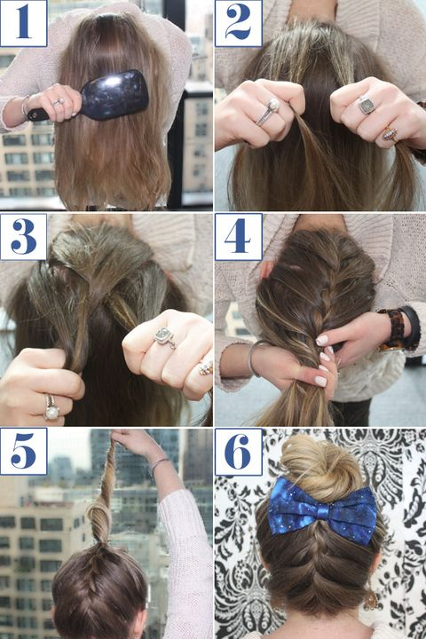 Reverse French Braid Bun How To Braided Bun Bow Hairstyle Tutorial