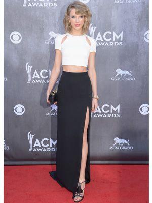 04e5ab9ff38552 Taylor Swift 2014 ACM White Crop Top Black Skirt - Taylor Swift Prom ...