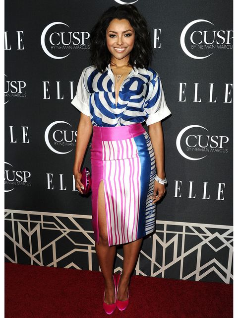 kat graham mixed prints outfit