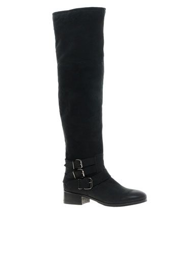 Footwear, Boot, Shoe, Leather, Costume accessory, Black, Knee-high boot, Fashion design, Synthetic rubber, Riding boot,