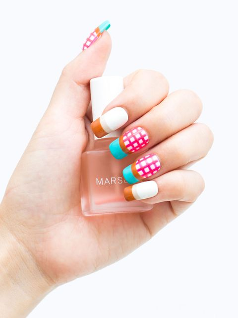 Gingham and Striped Nail Art