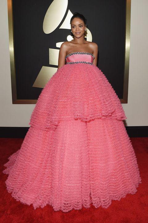 Clothing, Dress, Shoulder, Flooring, Textile, Floor, Gown, Pink, Formal wear, One-piece garment,
