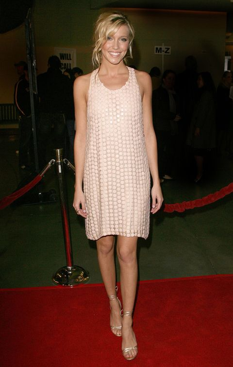 Katie Cassidy pink polka dot dress