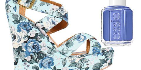 Blue Floral Wedges & Periwinkle Polish