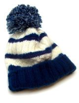 blue and white striped hat
