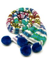 multicolored scarf with blue fuzzballs