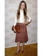 Lily Collins in school girl outfit for hollywood bag ladies luncheon