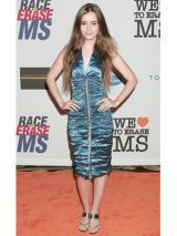 Lily Collins in blue metallic dress for race to erase ms event
