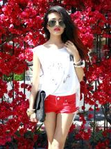 Eyewear, Red, White, Sunglasses, Style, Petal, Goggles, Thigh, Shorts, Street fashion,