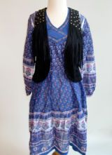 beyond vintage paisley dress and minkpink fringe vest