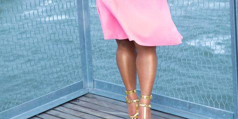Dress, Human leg, Pink, Fashion accessory, Bridge, Beauty, Magenta, Day dress, Street fashion, Cocktail dress,