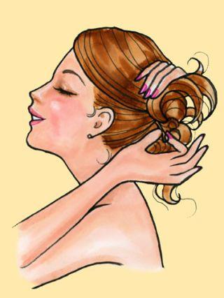 cartoon model twisting hair