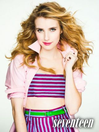 Emma Roberts in a purple and light blue striped tube top and matching skirt for May 2011 issue.