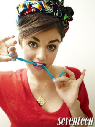 lucy hale with her hair up in a colorful bandanna shot for seventeen magazine
