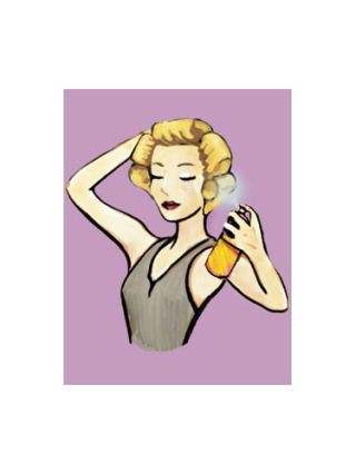 cartoon model spraying hairspray