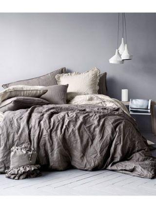 Room, Bed, Interior design, Bedding, Textile, Bedroom, Wall, Bed sheet, Linens, Furniture,
