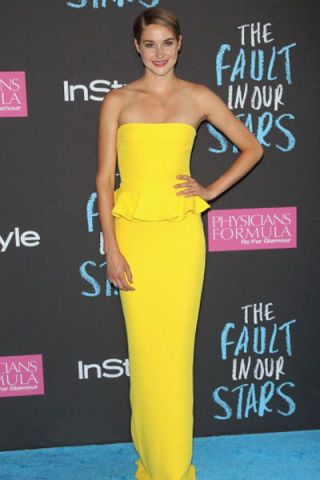 Shailene Woodley The Fault In Our Stars Premiere Yellow Peplum Dress