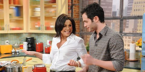 Penn Badgley cooking with Rachael Ray
