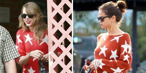 selena gomez taylor swift matching star sweaters