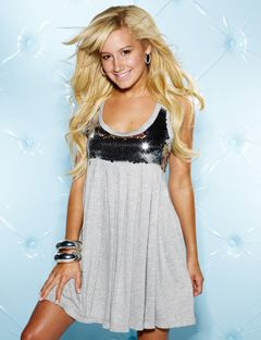 ashley tisdale in a gray sequined dress